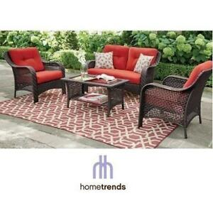 NEW HOMETRENDS 4PC PATIO SET LG8209-4PC RD 209535954 CONVERSATION RED TUSCANY