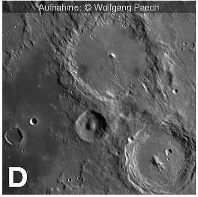 A: Merkur, Venus, Uranus & Neptun  B: Mars, Jupiter & Saturn   C: Mond (Gesamtaufnahme)  D: Mond (Detailaufnahme)