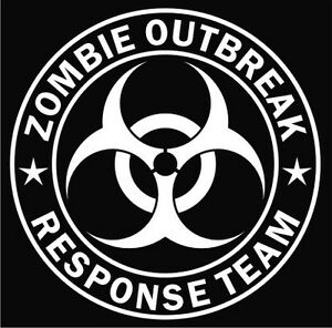 ZOMBIE-Outbreak-RESPONSE-Team-BioHazard-Decal-Sticker-Car-Truck-PICK-Your-Color