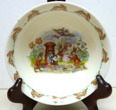 Cereal Dish - Royal Doulton  Bunnykins CEREAL DISH-1959-1975-REGD.TRADE MARK-SENDING A LETTER
