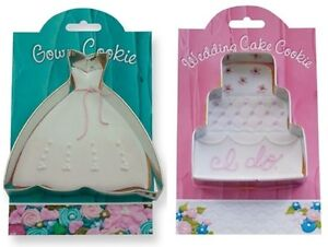 Qty-2-Wedding-Dress-and-Wedding-Cake-Cookie-Cutters-WITH-RECIPES-AND-TIPS