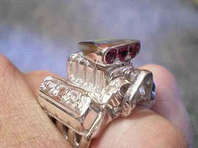 Blown Hemi, Ruby's in blower hat, V8 Ring Jewelry 925 Silver covers Size 10.5 for sale  Shipping to Canada