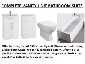 BRAND NEW COMPLETE BATHROOM SUITE OFFER