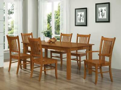 MISSION STYLE SIENNA BROWN COUNTRY WOOD DINING TABLE CHAIRS FURNITURE SET