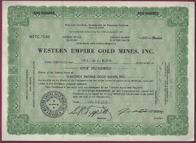 Western Empire Gold Mines  Inc   Stock Certificate 100 Shares Jun 24  1933