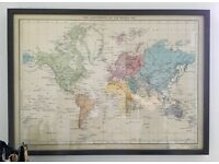 Ikea framed world map, picture, 72cm x 52cm