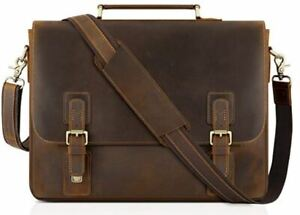 Tiding Vintage 16 inch leather laptop bag