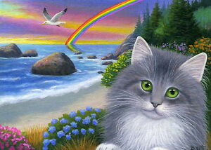 Tabby kitten cat ocean beach gull rainbow limited edition aceo print art