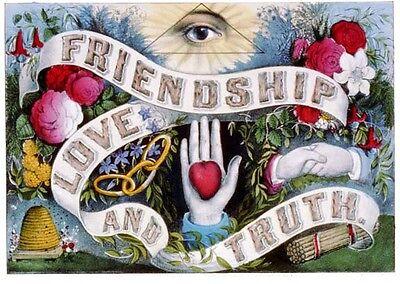 Friendship Love Truth ODD FELLOWS Art print Poster ring IOOF 12x18 I.O.O.F