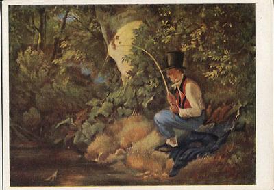Alte Kunstpostkarte - Carl Spitzweg - Der Angler