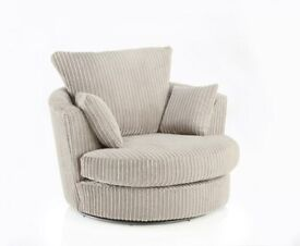 😍NEW DYLAN CREAM JUMBO CORD SWIVEL CHAIR - 2 MAN FAST DELIVERY😍