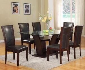 Solid wood dining table glass - chairs not included