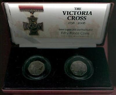 2006 silver proof piedfort; 50p Fifty Pence Victoria Cross cased + COA FREE pp