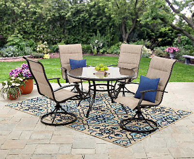 Patio Dining Set Round Glass Table & Swivel Fabric Chairs Patio Yard -