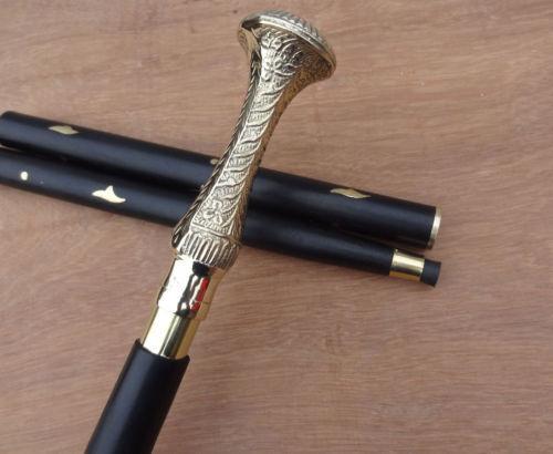 Vintage+Antique+Style+Golden+Brass+Natural+Wood+Victorian+Walking+Stick+Cane