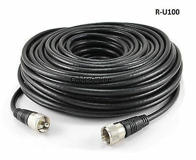 100ft RG8x Coax UHF (PL259) Male to Male 50 ohm Antenna Cable - R-U100