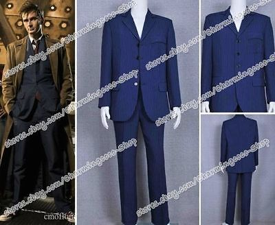 Doctor Who Zehnter Doctor Kostum David Tennant Cosplay Kostüme Blau Gestreift (Doctor Who Cosplay)
