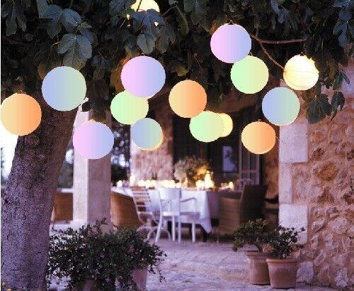 2 Solar Lampion weiß Farbwechsel Deko Garten Party rund Gartenlampion 12620