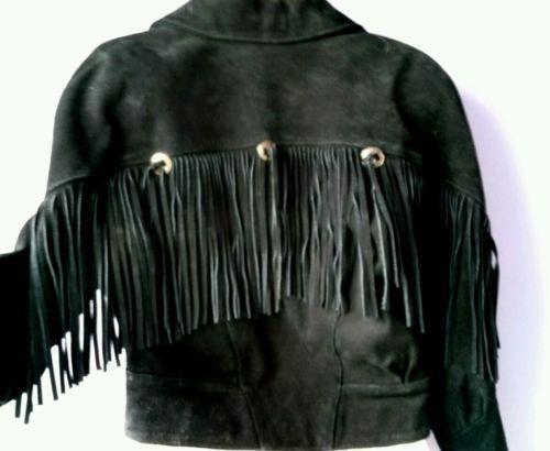 Womens Black Leather Fringe Jacket Ebay