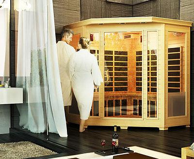 Luxo Valo 4 Person Corner Far Infrared Carbon Fibre Sauna Dry Indoor Sauna Cabin