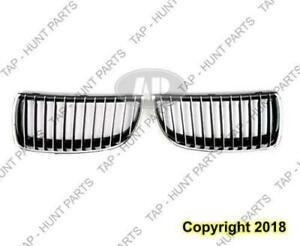 Grille Chrome/Black Driver Side Sedan ABS BMW 3-Series 2006-2008