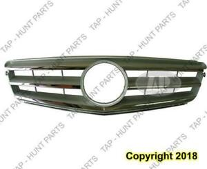 Grille Chrome/Silver Without Amg Package With Sport Package Mercedes C-Class 2008-2011
