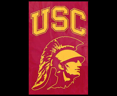 Ncaa Applique Banner (USC TROJANS TROJAN-HEAD LOGO Official NCAA Team Dynamic Applique WALL BANNER )