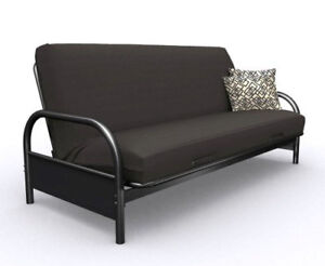 Black metal frame futon w/mattress (converts to double size bed)