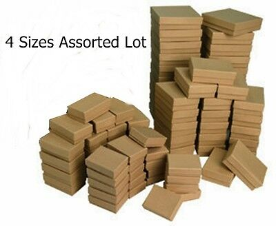 4 Sizes 20 Assorted Kraft Cotton Filled Jewelry Packaging Gift Boxes