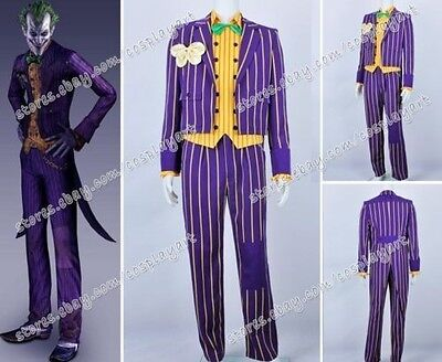 Batman Arkham Asylum Cosplay Kostüme Der Joker costume Purpur gestreift Anzug (Der Joker Batman Kostüme)