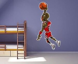 3 ft Michael Jordan Wall Decal Air Jordan Basketball Character Vinyl Decal Stick