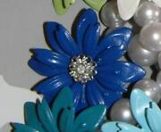 Vintage Blue Enamel Flower Brooch