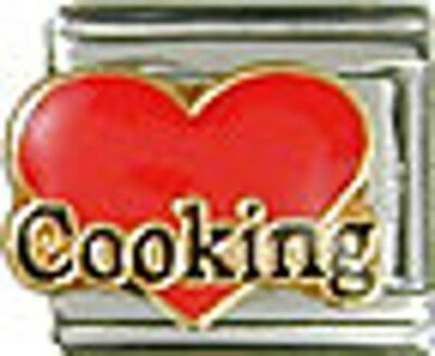 1 Heart Love Cooking 9MM NEW Stainless Steel Italian Charm Brand New!