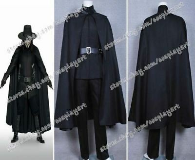 Vendetta Guy Fawkes Cosplay Costume Full Set Black Cape Suit For Halloween Party - Suits For Guys