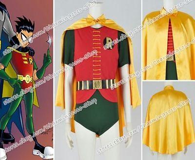 1966 Robin Costume (Batman 1966 Robin Cosplay Costume Yellow Cape Uniform Jumpsuit Outfit Full)