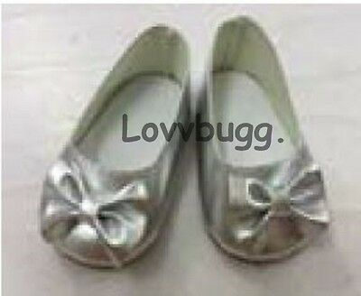 "Lovvbugg Silver Ballet Flats Bow for 18"" American Girl or Bitty Baby Doll Shoes Clothes"