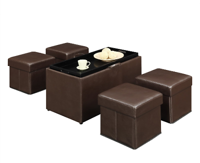 Storage Bench With Ottomans Seating Set Tray Lid Cover Faux