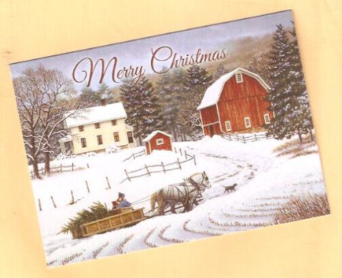 Christmas Cards Labrador Retriever Lab Tree Sled Horse Barn Snow Box of  20*