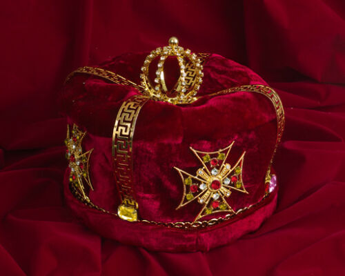 Gold Plated King Prince Crown Headwear Rhinestone Crystal Gemstones Red Velvet