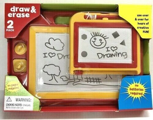 2 Piece Draw & Erase Drawing Board Toy Doodle Writing Stamp Kids Educational NEW