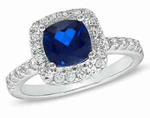 Blue and White Sapphire Ring & Pendant Set - Sterling Silver