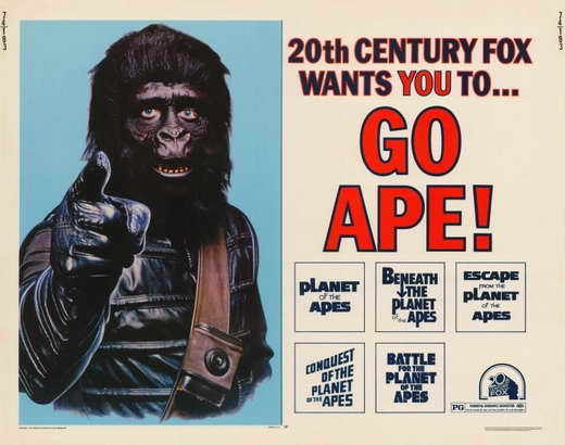 GO APE (PLANET OF THE APES) Movie POSTER 22x28 Half Sheet Charlton Heston Roddy