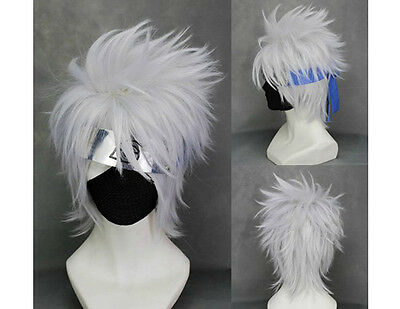 Naruto Kakashi Hatake Perücke wig Cosplay Kostüm Weiß Silber Grau Kurz Herren