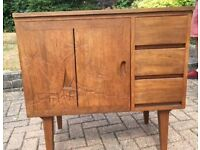 SOLID TEAK SEWING MACHINE CABINET WITH SIDE EXTENSION