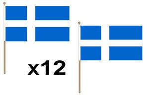 Shetlands Waving Hand Flag 12 Pack Decoration Scotland Scotish Scotts