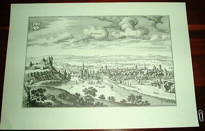 Kreuznach alte Ansicht Merian Druck Stich 1650 Panorama