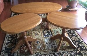 Solid Oak coffee table and 2 end tables