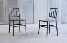 4 Metal chairs with leather seat