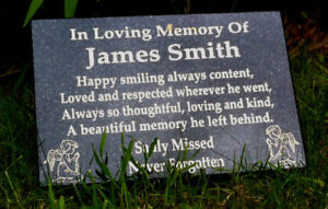 MEMORIAL STONE GRAVE MARKER PERSONALISED PLAQUE HEADSTONE GRAVESTONES MEMORIALS