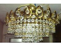 1970s Vintage Retro 5 Tier Wedding Cake Real Crystal Chandelier Ceiling Light